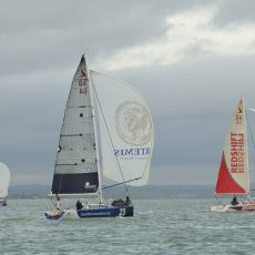 A break in the cloud and the 3 boats with their 'training rags' up i.e. old sails